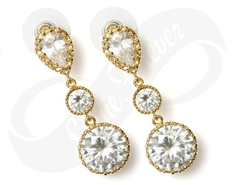 Bridesmaid Jewelry Gold Bridal Cubic Zirconia Gold Dangle Earrings Bridesmaid Gift Crystal Gold Earrings Bridal Jewelry Diamond Look White
