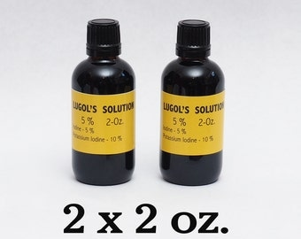 Lugols Iodine / 5% Solution / 4 Oz . in an Amber Glass Bottle / Dropper /