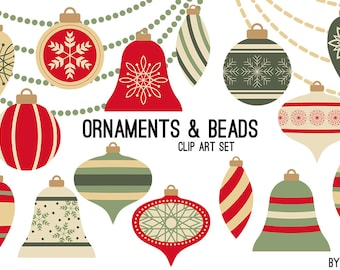Christmas Clipart Ornaments Red and Green Swags Beads Holiday Commercial Use Graphics Digital Clip Art Digital Images Royalty Free PNG