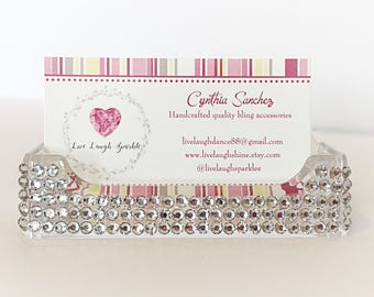 Silver Bling Bedazzed Desk Business Card Holder, Custom Office Supplies