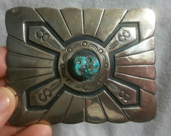 Sterling Turquoise native American belt buckle