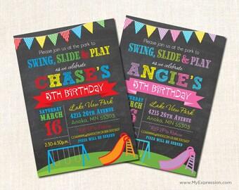 Playground Birthday Invitations - Park Birthday Invitations - Kids Birthday Invitations  -  Swing Set and Slide Invitations - Pink or Red