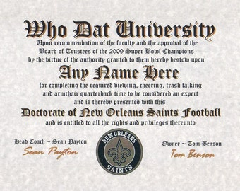 NEW ORLEANS SAINTS~  football fan ~certificate ~ diploma ~gift ~sign ~ man cave ~ office ~ dorm