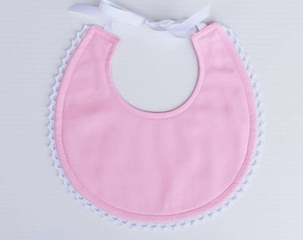 Baby Girl Bib | Pink and White Bib | Boho Bib