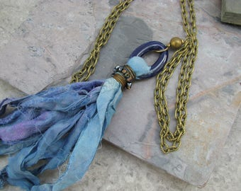 Long tassel necklace, fair trade recycled sari silk, blue tassel, boho chic, festival necklace, eco friendly jewelry, mixed media necklace