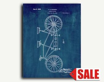 Patent Art - Tandem Bicycle Patent Wall Art Print