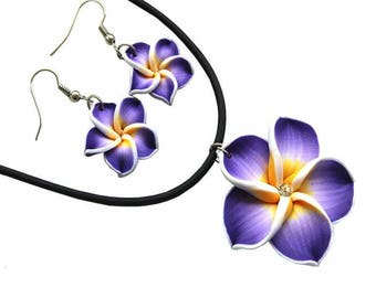 Leilani Clay Plumeria Necklace & Earring Set
