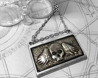 Winged Skull : hand embossed repoussé metal pendant necklace