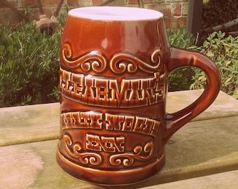 1960's Souvenir Mid Century vintage Clearman's North Woods Inn Restaurant ceramic beer stein mug