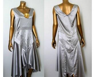 1930s Harlow Garbo Silver Evening Dress XS