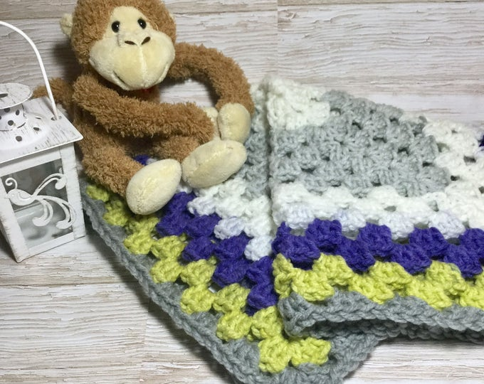 Soft Crochet Security Blanket, Small Baby Blanket, Car Seat Snuggle for Baby