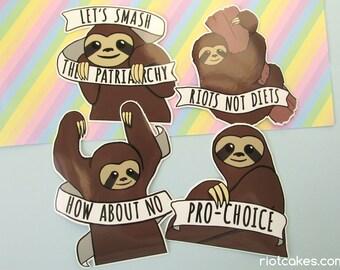 Feminist Sloth Sticker Pack