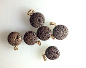 Lava rock bead pendants 16mm puffed rounds lava stone
