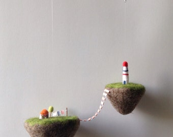 floating islands mobile needle felted