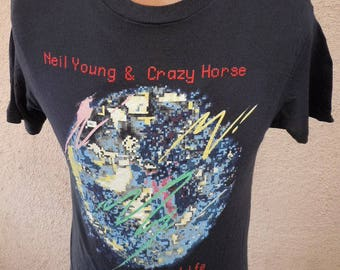 Size L- (42) ** Rare Neil Young Dated 1987 Life Concert Shirt (Deadstock Unworn) (Double Sided)