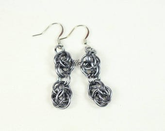 Puff of Smoke anodized aluminum chainmaille earrings
