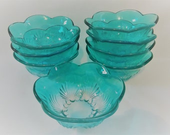 Set of Eight Beautiful Aqua Marine Blue Bowls, Dessert Bowls/Ice Cream Bowls, Scalloped Rim, Shell Pattern, Cottage Dinning
