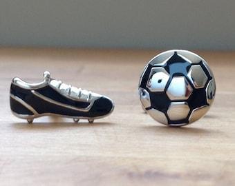 Silver high quality soccer cufflinks