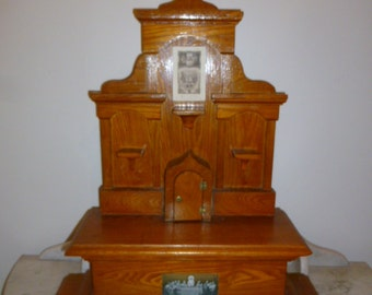 Religious art French wood tabernacle church Christ presbytery circa 1940s