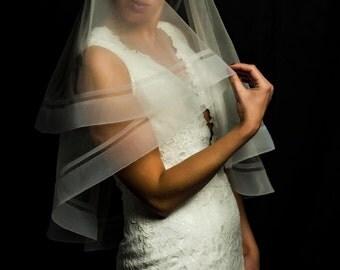 Horsehair Trim Veil, Double HorseHair Trim Wedding Veils, Cathedral Veil, Edge Veil, Blusher Veil, Veil, Veil Handmade in the USA