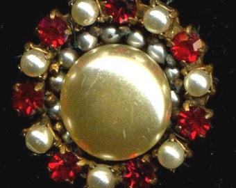 Vintage Miriam Haskell Brooch Pearls & Red Rhinestones