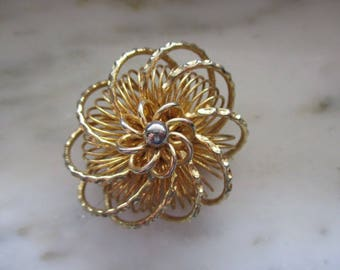 Vintage Gold & Silver Tone Spiral or Flower Pin or Brooch