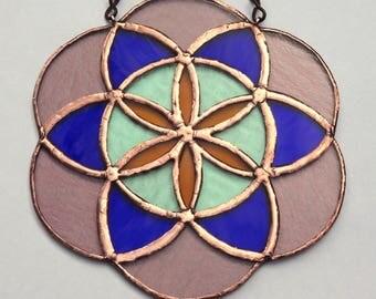 SEED OF LIFE stained glass suncatcher Sacred geometry Mandala Leadlight