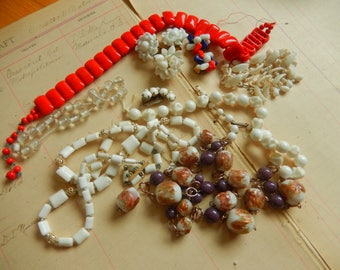 11 Piece Vintage Red White Glass Plastic Bead Necklace Junk Jewelry Lot