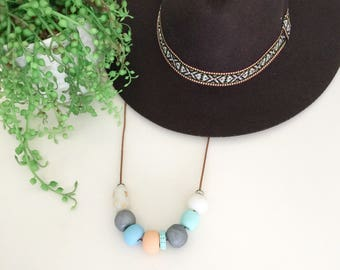 Handmade beaded clay necklace - polymer clay - Australian made - statement necklace - bold.