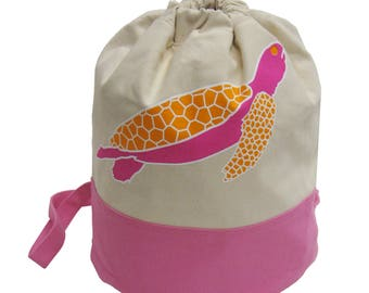 Little Packrats Cotton Canvas SEA TURTLE Duffel Backpack/Sling