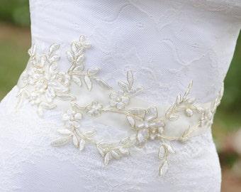 Gold Lace Sash, Ivory and Gold Wedding Sash, Gold Wedding Belt, Unique Sash, Gold Bridal Belt, Gold Lace Wedding Sash- ALISA