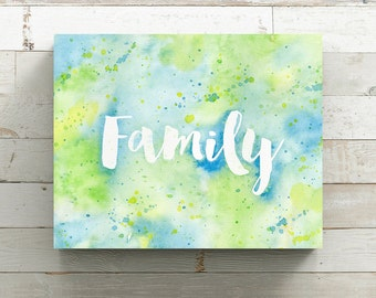 Family Watercolor Canvas Print - Blue & Green Watercolor Painting - Original Painting by Angela Weber - Wrapped Canvas Print