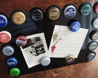 Beer Bottle Cap Magnetic Photo & Memo Board