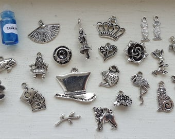 Alice in Wonderland 29 pc Tibetan Style Pendant Charms Antique Silver