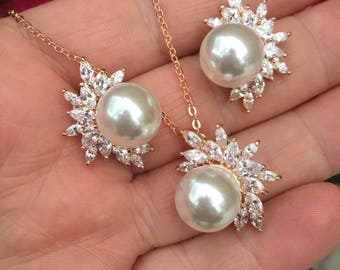 Rose gold Pearl Jewelry Set, Pearl cz Pendant Set, cubic zirconia Necklace Set, weding jewelry, bridal jewelry,wedding earrings jewelry