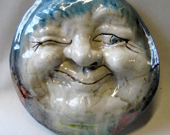 Man In The Moon  Wall Hanging - Artist Made And Raku Fired Studio Pottery