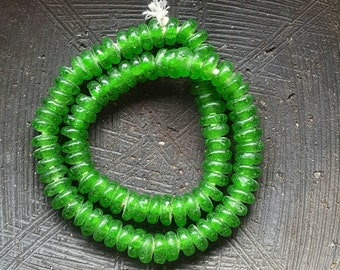 Green African Glass Beads - Recycled Glass Spacer  Beads. Seaglass Beads.