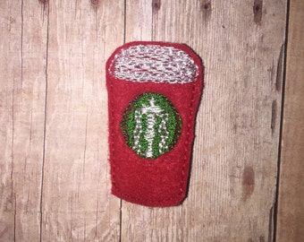 Set of 4 Red Christmas To Go Cup Coffee Drink Frappucino Feltie Felt Embellishment Bow! Felties Applique Party Planner Clip Red Cup