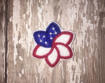 Set of 4 Flag Flower Patriotic 4th of July Memorial Veterans Military Army Navy Marines Air Force Feltie Felt Embellishment Bow! Planner
