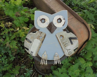Salvage Yard Art Owl,Found Object Assemblage Owl, Upcycled Garden Decor