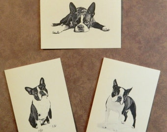 Set of 6 or 12 Handmade Blank Boston Terrier Print Dog Print Note Cards