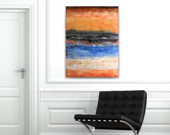 Large abstract painting,original fine art,acrylic on canvas,gallery wrapped canvas,blue coral tan abstract,yellow abstract,rothko abstract