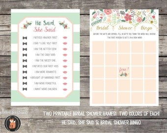 Bridal Shower Games - April Showers Floral Umbrella Mint Gold Pink -  Instant Download!