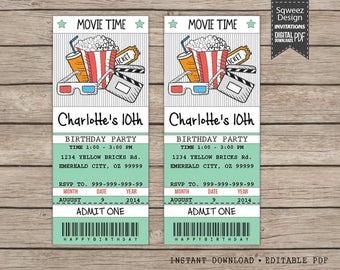 Movie Ticket Invitation, Movie Party Invitation Ticket Printable - Instant Download Editable PDF