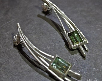 Silver earrings with tourmalines