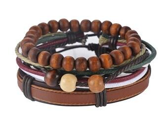 Bracelets For Women or Men's Bracelets, 3 Piece Set, Boyfriend Gift, Girlfriend Gift, Leather Bracelet, 4P-6