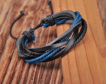 Leather and Hemp Bracelet, Black and Blue Adjustable Cool Surfer Style Father's Day Gift JLA-36