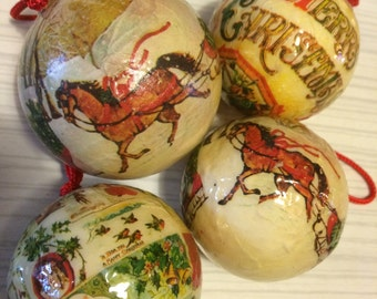CLASSIC Papier-mâché Baubles - Christmas Tree Decorations x4