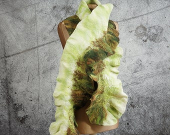 Felted Scarf,  felted Shawl,  merino wool, brown, white, green wool scarf, felt scarf-Feltmondo