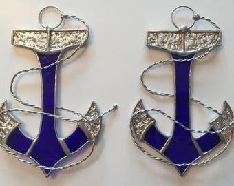 """Handmade Stained Glass Anchor (with """"Rope"""") Suncatcher"""